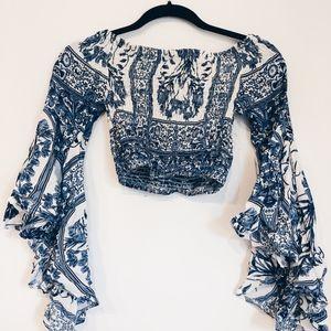 LF Blue & White Shirred Cropped Long Sleeve
